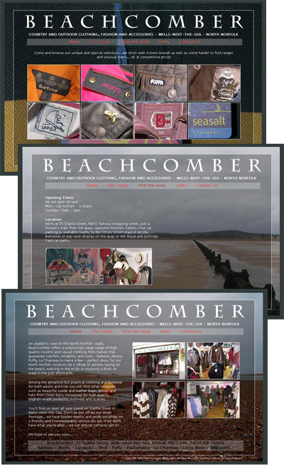 Beachcomber Wells... website for local outdoor and fashion clothing retailer